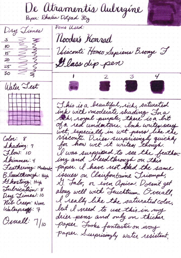 Ink Review: De Atramentis Aubergine