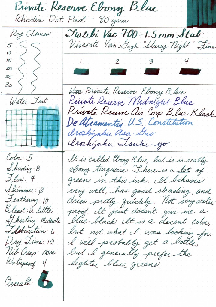 Ink Review: Private Reserve Ebony Blue
