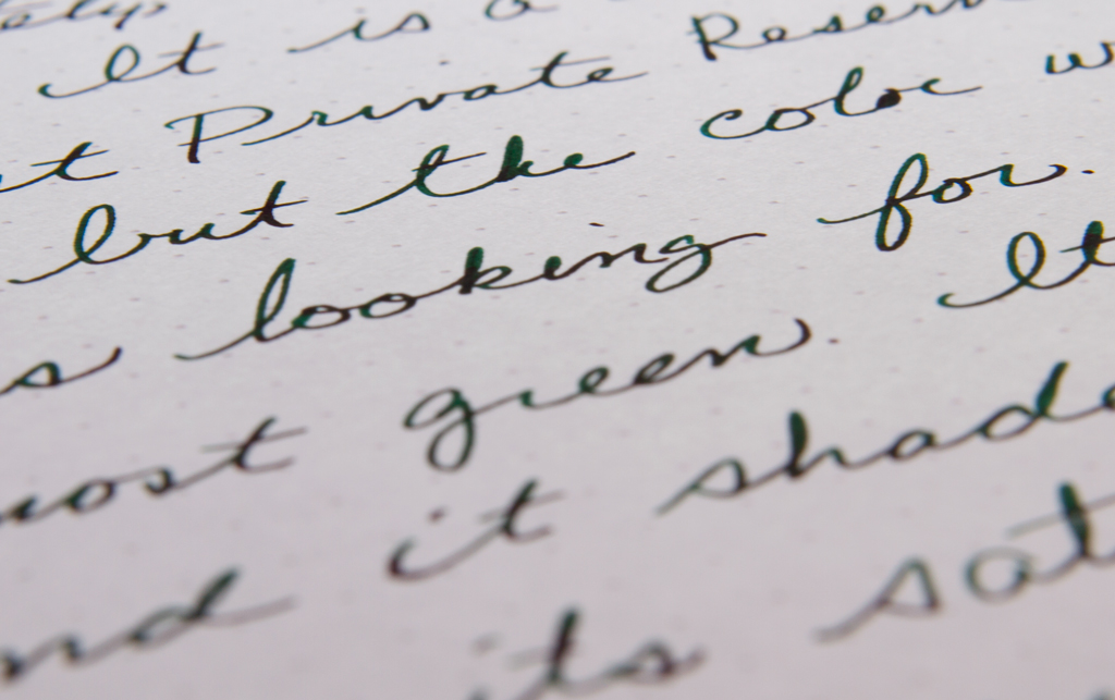 Private Reserve Ebony Blue Writing Sample Close-up
