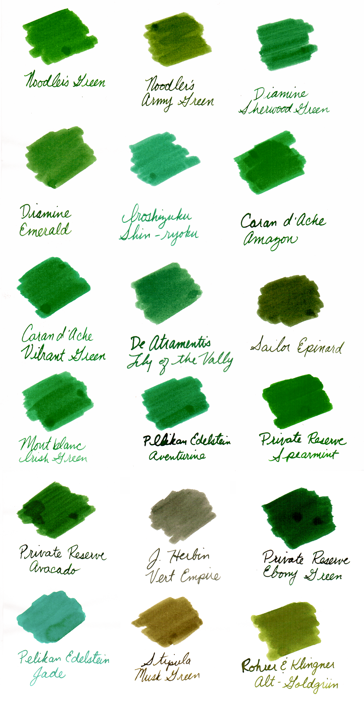 Green Ink Comparison
