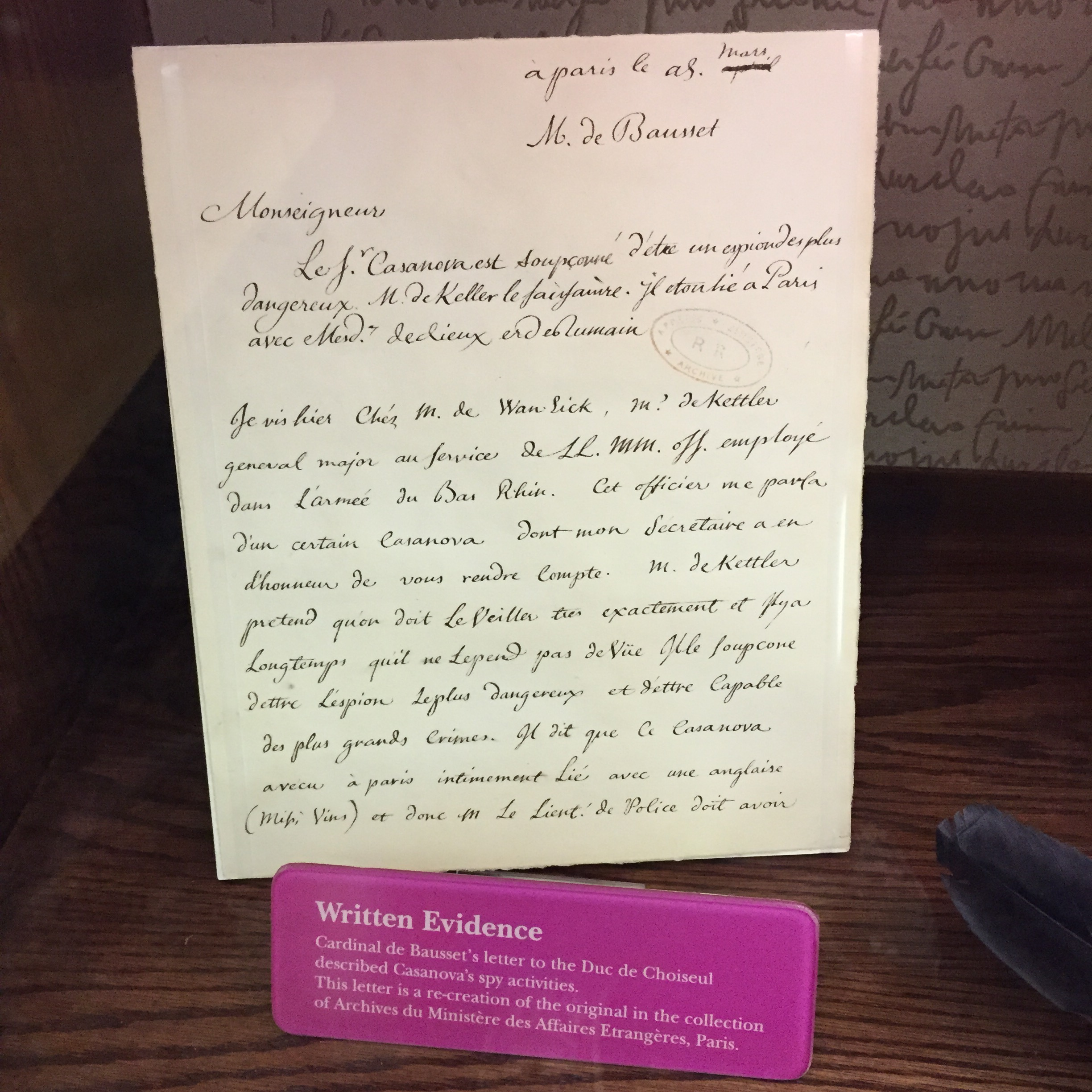 A bit of lovely penmanship (or penwomanship, I suppose) at the spy museum.