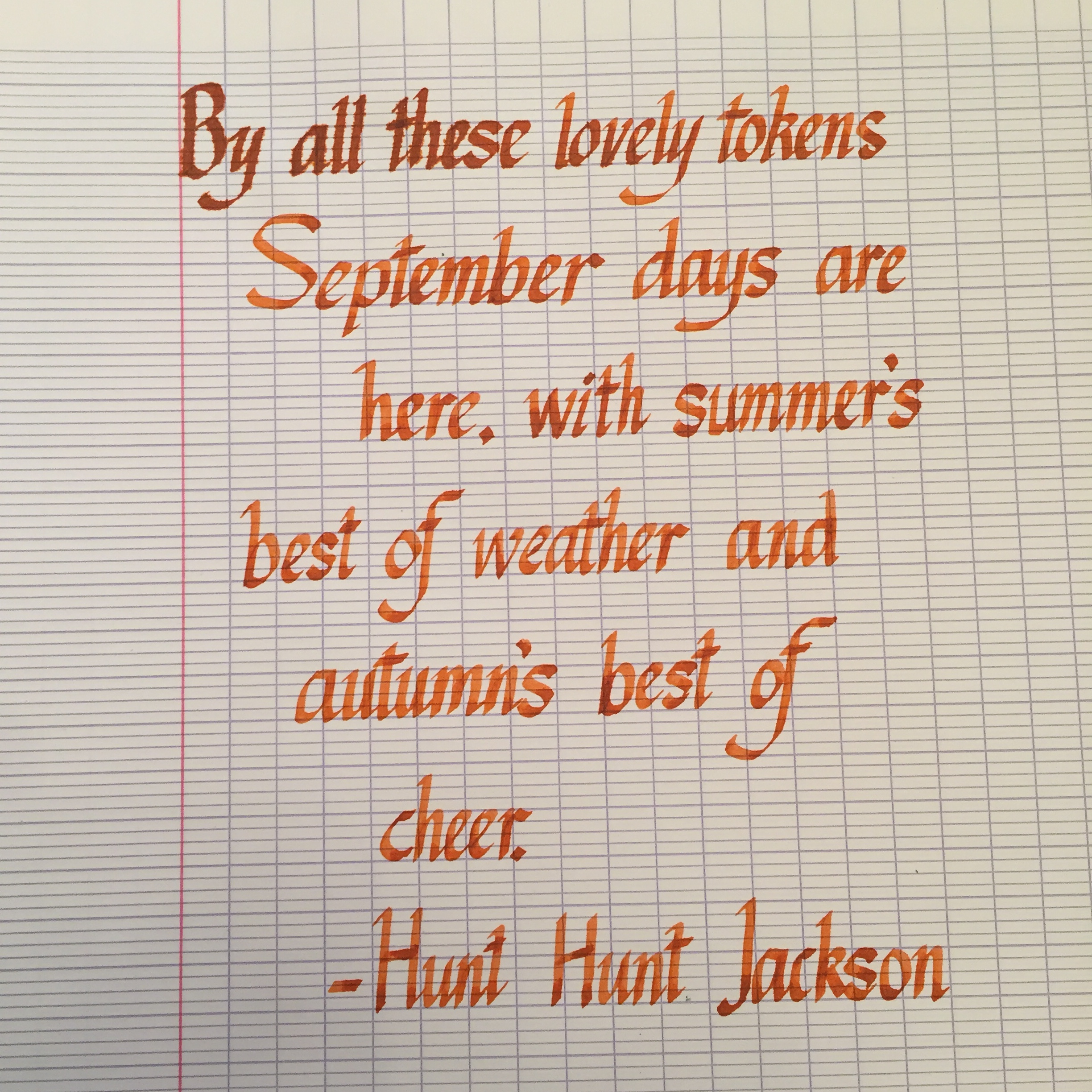 Italics Calligraphy is fun. (Done with a Pilot Parallels 2.8mm with Lamy Copper Orange ink on a Clairefontaine French Ruled notebook.)