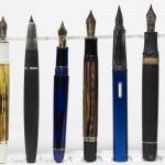 Uncapped Size Comparison (L to R): Staedtler Initium Resina, Pelikan M600, Lamy 2000, Platinum 3776, Pelikan M800, Lamy AL-Star, Visconti Homo Sapiens Maxi, Montblanc 149