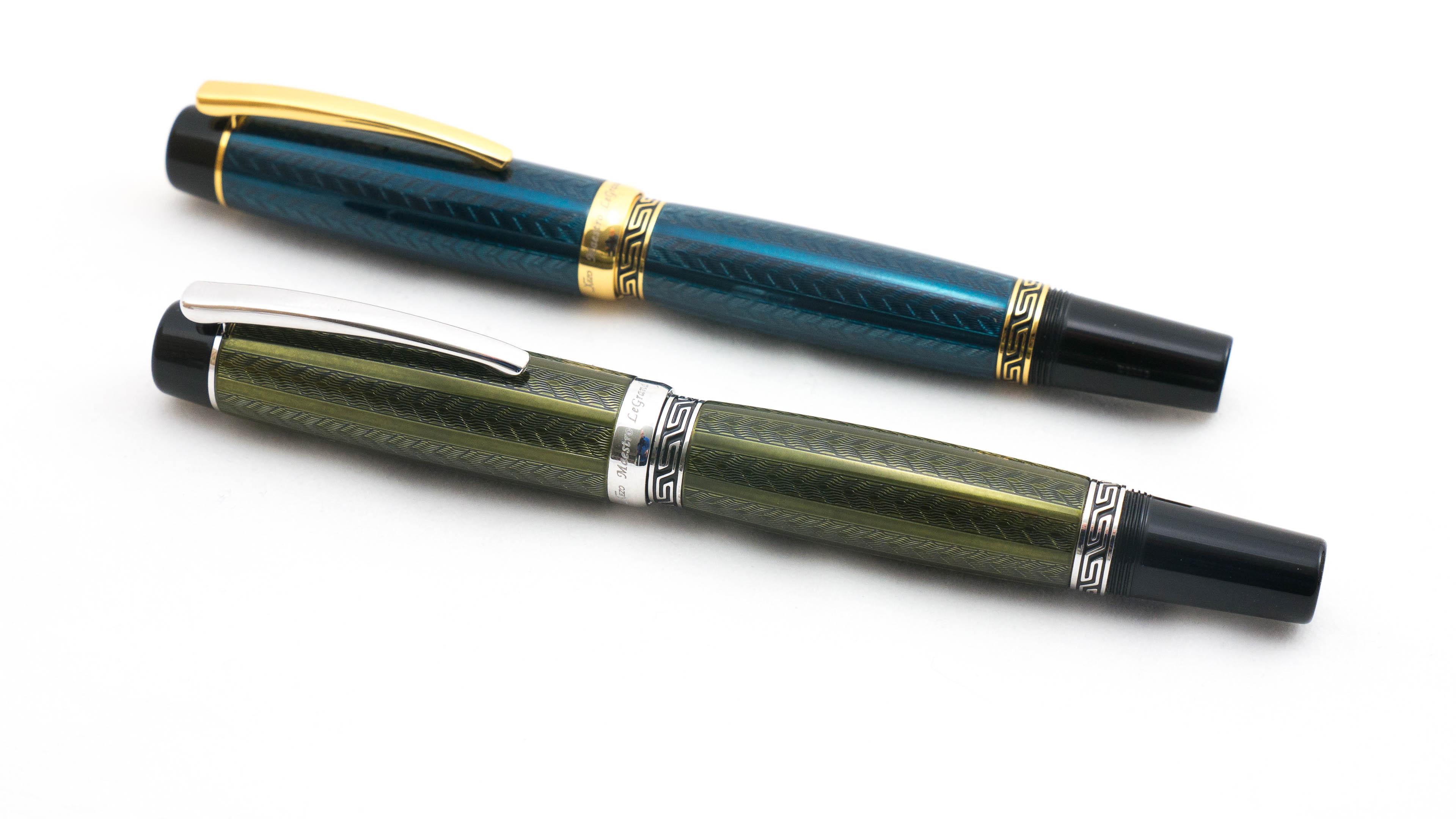 Lacquered Xezo Maestro LeGrand Diamond Cut Platinum Plated Fine Point Fountain Pen in Tanzanite Color